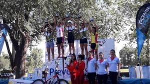 El podio de la general femenina.