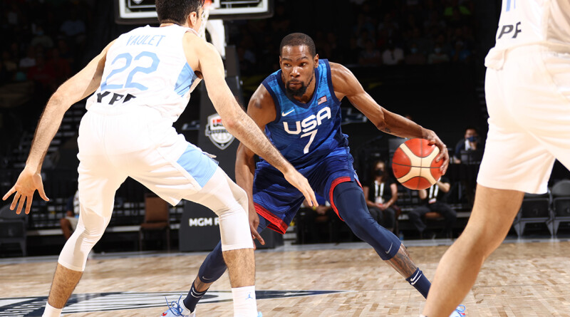 LAS VEGAS, NV - JULY 13: Kevin Durant #7 of the USA Men's National Team handles the ball during the game against the Argentina Men's National Team on July 13, 2021 at Michelob ULTRA Arena in Las Vegas, Nevada. NOTE TO USER: User expressly acknowledges and agrees that, by downloading and or using this photograph, User is consenting to the terms and conditions of the Getty Images License Agreement. (Photo by Ned Dishman/NBAE via Getty Images)